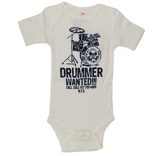 Drummer Wanted wit Logoshirt baby romper