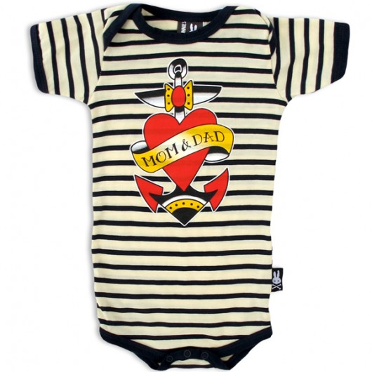 Mom and dad tatoeage Six Bunnies baby romper