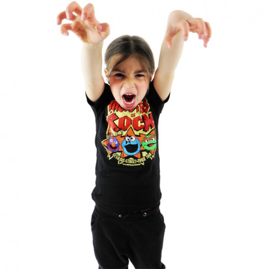 Sesamstraat Monsters of Rock Logoshirt kinder t-shirt zwart