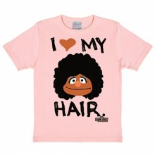 Sesamstraat Love My Hair kinder shirt roze